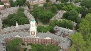 AF0001_000734 - HD stock footage aerial video flyby Eliot House, tilt up to reveal Lowell House and Harvard University campus in Cambridge, Massachusetts