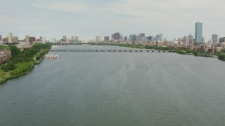 AF0001_000738 - HD stock footage aerial video follow the Charles River to approach Harvard Bridge and Downtown Boston, Massachusetts