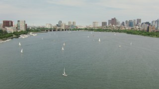 AF0001_000740 - HD stock footage aerial video fly over sailboats on the Charles River to approach Downtown Boston, Massachusetts