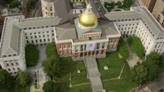 AF0001_000744 - HD stock footage aerial video of a bird's eye view of the Massachusetts State House, Downtown Boston, Massachusetts