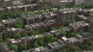 AF0001_000756 - HD stock footage aerial video flyby Victorian brownstone homes in Back Bay, Downtown Boston, Massachusetts