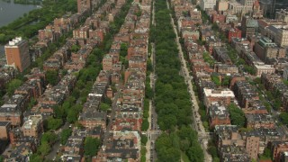 AF0001_000758 - HD stock footage aerial video of flying over Victorian brownstones and streets in Back Bay, Downtown Boston, Massachusetts