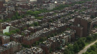 AF0001_000760 - HD stock footage aerial video of flying by Victorian brownstone homes in Back Bay, Downtown Boston, Massachusetts