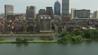 AF0001_000761 - HD stock footage aerial video of Victorian brownstone homes in Back Bay and skyscrapers in Downtown Boston, Massachusetts