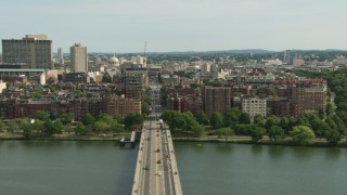 AF0001_000762 - HD stock footage aerial video of Victorian brownstones in Back Bay and skyscrapers in Downtown Boston, Massachusetts