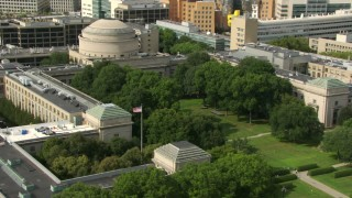 AF0001_000769 - HD stock footage aerial video orbit Maclaurin Building at Massachusetts Institute of Technology, Cambridge, Massachusetts