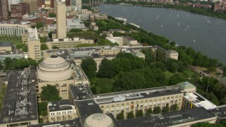 AF0001_000770 - Aerial stock footage of An orbit of the Maclaurin Building at the Massachusetts Institute of Technology, Cambridge, Massachusetts