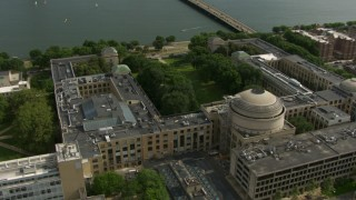 AF0001_000771 - Aerial stock footage of The Maclaurin Building at the Massachusetts Institute of Technology, Cambridge, Massachusetts