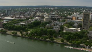 AF0001_000772 - Aerial stock footage of The Green and Maclaurin Buildings at the Massachusetts Institute of Technology, Cambridge, Massachusetts