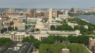 AF0001_000774 - Aerial stock footage of Flying by the campus of Massachusetts Institute of Technology, Cambridge, Massachusetts