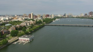AF0001_000776 - Aerial stock footage of Approach the campus of Massachusetts Institute of Technology and Harvard Bridge, Cambridge, Massachusetts