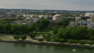 AF0001_000777 - HD stock footage aerial video of the Maclaurin Building at Massachusetts Institute of Technology, Cambridge, Massachusetts