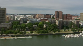 AF0001_000778 - Aerial stock footage of Flying by the campus of Massachusetts Institute of Technology, Cambridge, Massachusetts
