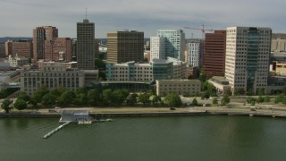AF0001_000779 - Aerial stock footage of MIT Sloan School of Management and office buildings in Cambridge, Massachusetts