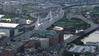AF0001_000800 - Aerial stock footage of Approach and flyby the Zakim Bridge, Boston, Massachusetts, twilight