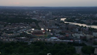 AF0001_000809 - HD stock footage aerial video of a baseball game in progress at Fenway Park, Boston, Massachusetts, sunset