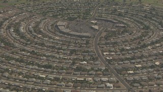 AF0001_000835 - HD stock footage aerial video of La Ronde Shopping Center and residential neighborhood, Sun City, Arizona