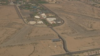 AF0001_000839 - Aerial stock footage of Approach Surprise City Hall, Police Department and City Court, Surprise, Arizona
