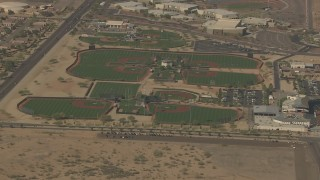 AF0001_000840 - HD stock footage aerial video of baseball diamonds at Surprise Recreation Campus, Surprise, Arizona