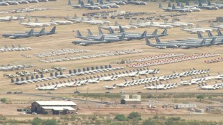 AF0001_000852 - HD stock footage aerial video of an aircraft boneyard at Davis Monthan AFB, Tucson, Arizona
