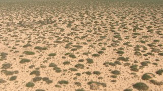 AF0001_000898 - HD stock footage aerial video fly low over a flat desert plain in New Mexico