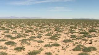 AF0001_000902 - Aerial stock footage of A wide plain with desert vegetation in New Mexico