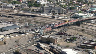 AF0001_000931 - Aerial stock footage of The Texas side of the Paso del Norte International Bridge / Santa Fe Street Bridge, El Paso/Juarez Border