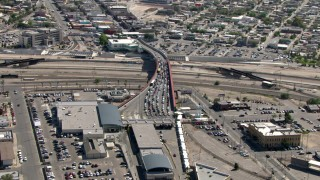 AF0001_000932 - Aerial stock footage of Heavy traffic on the Paso del Norte International Bridge / Santa Fe Bridge, El Paso/Juarez Border