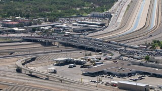 AF0001_000937 - Aerial stock footage of A view of heavy traffic on the Bridge of the Americas, El Paso/Juarez Border
