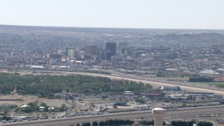 AF0001_000944 - HD stock footage aerial video of a view of city buildings in Downtown El Paso, Texas