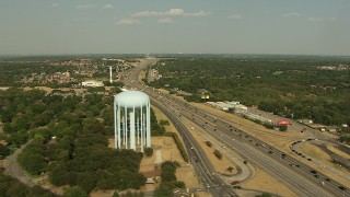 AI05_DAL_01 - 1080 stock footage aerial video flying over Interstate 20, heavy traffic, Arlington, Texas