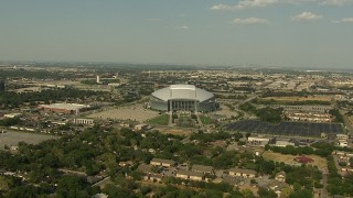 AI05_DAL_03 - 1080 stock footage aerial video approaching AT&T Stadium, tilt down, Arlington, Texas