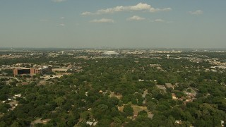 AI05_DAL_04 - 1080 stock footage aerial video flying over residential neighborhoods, approaching AT&T Stadium, Arlington, Texas