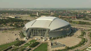 AI05_DAL_06 - 1080 stock footage aerial video AT&T Stadium, Rangers Ballpark, Six Flags Over Texas, Arlington, Texas
