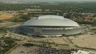 AI05_DAL_09 - 1080 stock footage aerial video orbiting the side of AT&T Stadium, Arlington, Texas