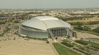 AI05_DAL_13 - 1080 stock footage aerial video AT&T Stadium, Rangers Ballpark and Six Flags Over Texas, Arlington, Texas