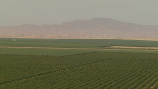 AI06_FRM_029 - 1080 stock footage aerial video flyby farmland and distant mountains, Central Valley, California