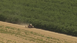 AI06_FRM_047 - 1080 stock footage aerial video flying by edge of orchard, revealing tractor driving by, Central Valley, California