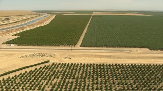 AI06_FRM_058 - 1080 stock footage aerial video flying over crops, approaching irrigation canals, Central Valley, California
