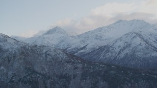 AK0001_0001 - 4K stock footage aerial video flying by snow covered Chugach Mountains, Chickaloon, Alaska