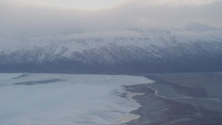 AK0001_0024 - 4K stock footage aerial video approaching Knik Glacier and Chugach Mountains, Knik Glacier, Alaska