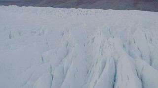 AK0001_0029 - 4K stock footage aerial video flying low over Knik Glacier, revealing Chugach Mountains, Knik Glacier, Alaska