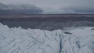 AK0001_0035 - 4K stock footage aerial video flying low over the Knik Glacier, approaching second glacier, Knik Glacier, Alaska