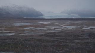 AK0001_0036 - 4K stock footage aerial video approaching Inner Lake George, glacier, low altitude, Inner Lake George, Alaska