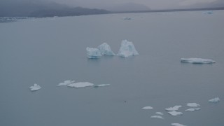 AK0001_0040 - 4K stock footage aerial video orbiting floating icebergs, Inner Lake George, Alaska