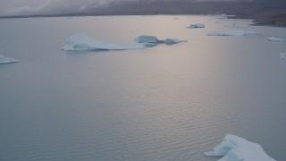 AK0001_0041 - 4K stock footage aerial video flying over icebergs on Inner Lake George, tilt down, Inner Lake George, Alaska
