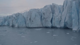 AK0001_0051 - 4K stock footage aerial video flying by the edge of a glacier, Knik, Alaska