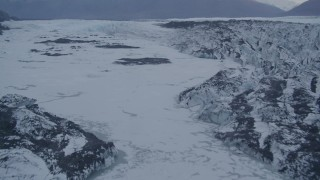 AK0001_0052 - 4K stock footage aerial video flying over lake, next to a glacier, Knik, Alaska