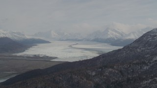 AK0001_0111 - 4K stock footage aerial video Knik Glacier, bordered by Chugach Mountains, Knik Glacier, Alaska