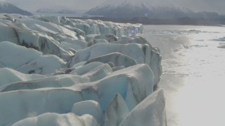 AK0001_0125 - 4K stock footage aerial video flying over Knik Glacier, approaching Knik River, Knik Glacier, Alaska